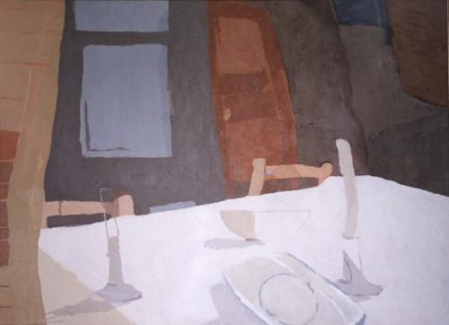 [06] EL MANTEL BLANCO, acrílico/lienzo, 51x73 cm
