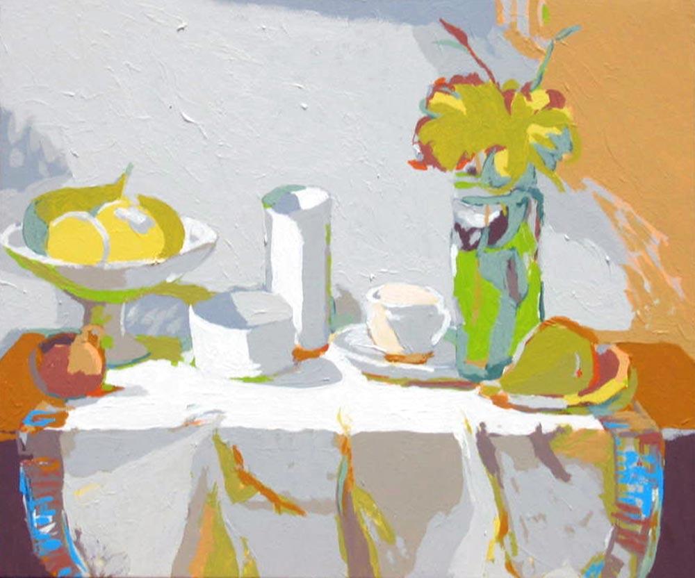 BODEGÓN DEL FLORERO, acrílico/lienzo, 38x46 cm