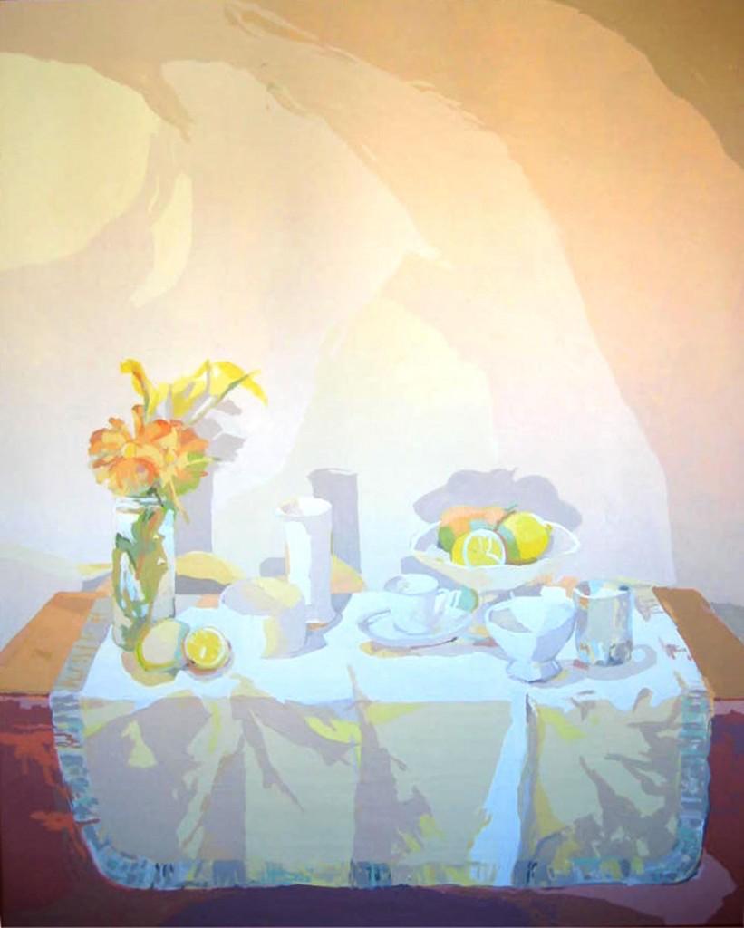 BODEGÓN DEL MANTEL BLANCO, acrílico/lienzo, 146x114 cm