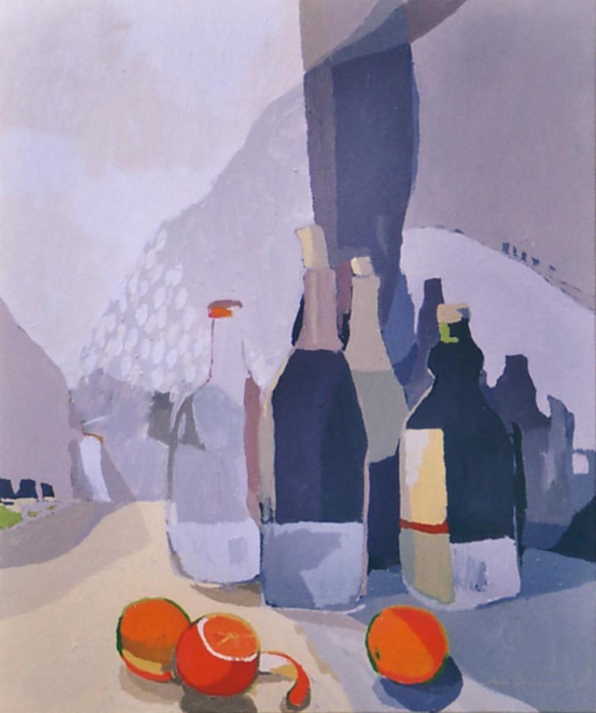 BOTELLAS Y NARANJAS, acrílico/lienzo, 65X54 cm