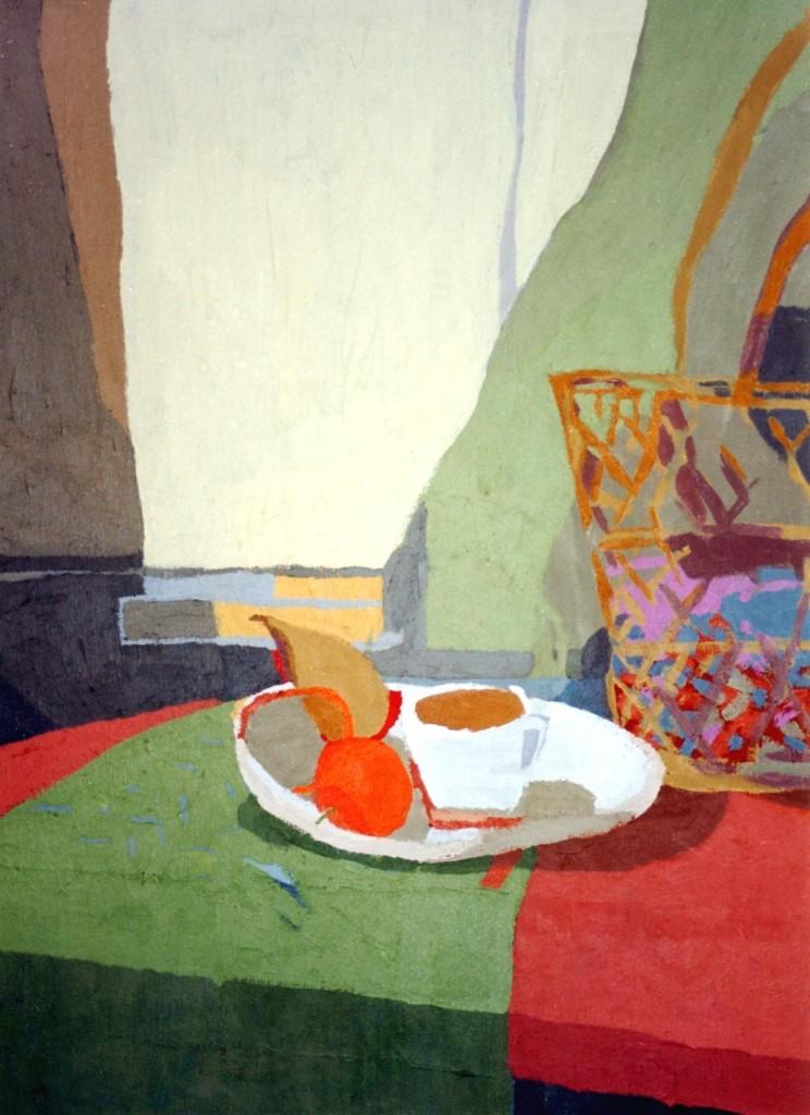 DESAYUNO CON CESTA, acrílico/lienzo, 73x51 cm