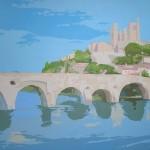 """[12] LE PONT VIEUX (serie """"Mare nostrum""""), acrílico/lienzo, 89x116 cm"""