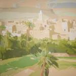 "[18] KASBAH DORADA (serie ""Tan cerca, tan lejos""), acrílico/lienzo, 100x100cm"