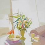 """[22] LA MESA DE CRISTAL (serie """"Interiores""""), acrílico/lienzo, 162x130 cm"""