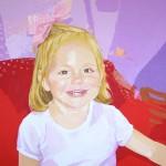 ADRIANA CON LAZO ROSA, acrílico/lienzo, 100x81 cm, 2007