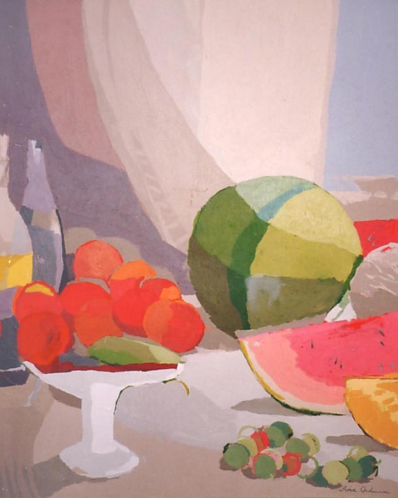 BODEGÓN DE VERANO, acrílico/lienzo, 55x46 cm, 2002