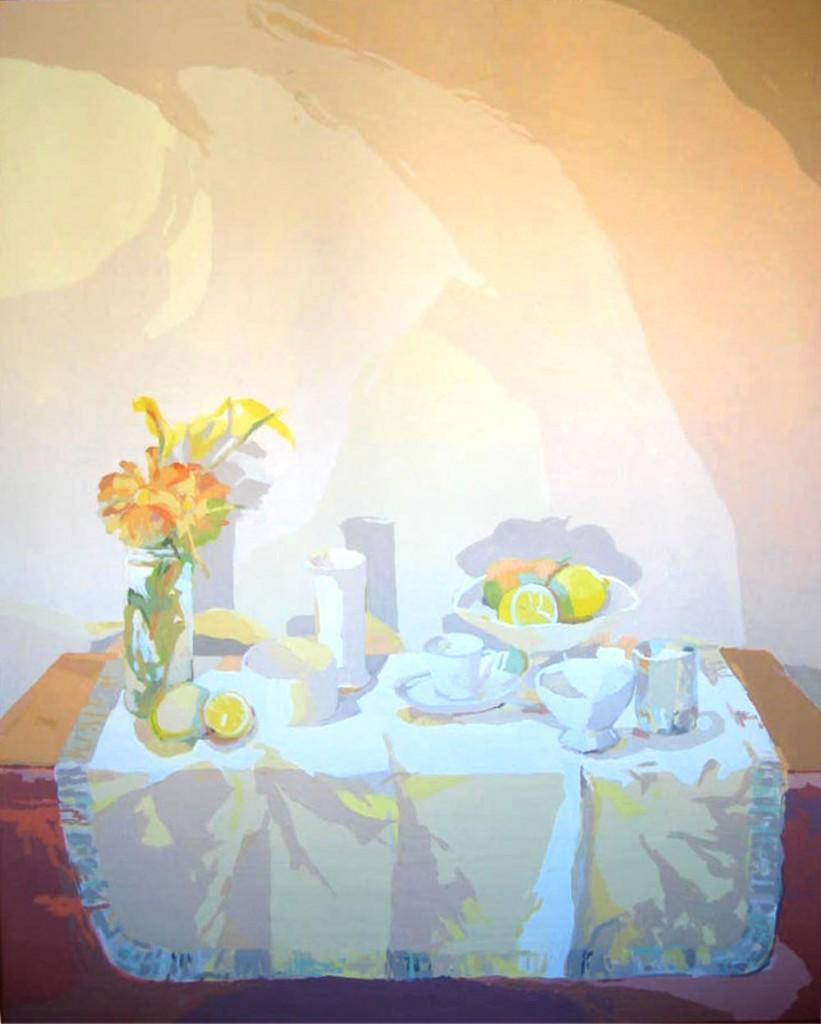 BODEGÓN DEL MANTEL BLANCO, acrílico/lienzo, 146x114 cm, 2004
