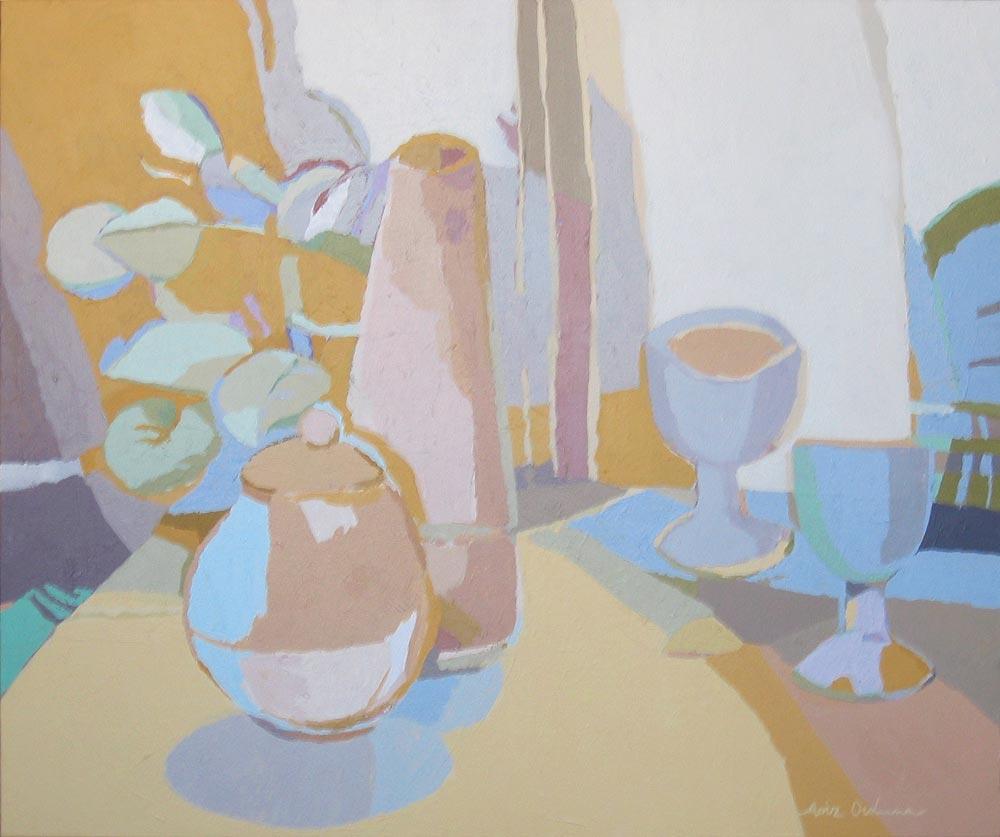 BODEGÓN CON DOS COPAS, acrílico/lienzo, 46x55 cm, 2006