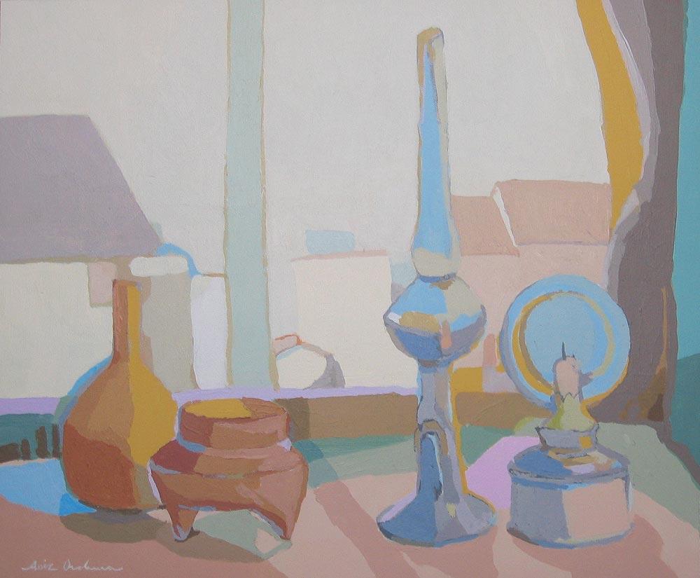 BODEGÓN CON PAISAJE, acrílico/lienzo, 46x55 cm, 2006