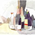 BOTELLAS, acuarela/papel, 20x25 cm, 2009