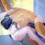 EL ABRAZO, acrílico/lienzo, 100x100 cm, 2004
