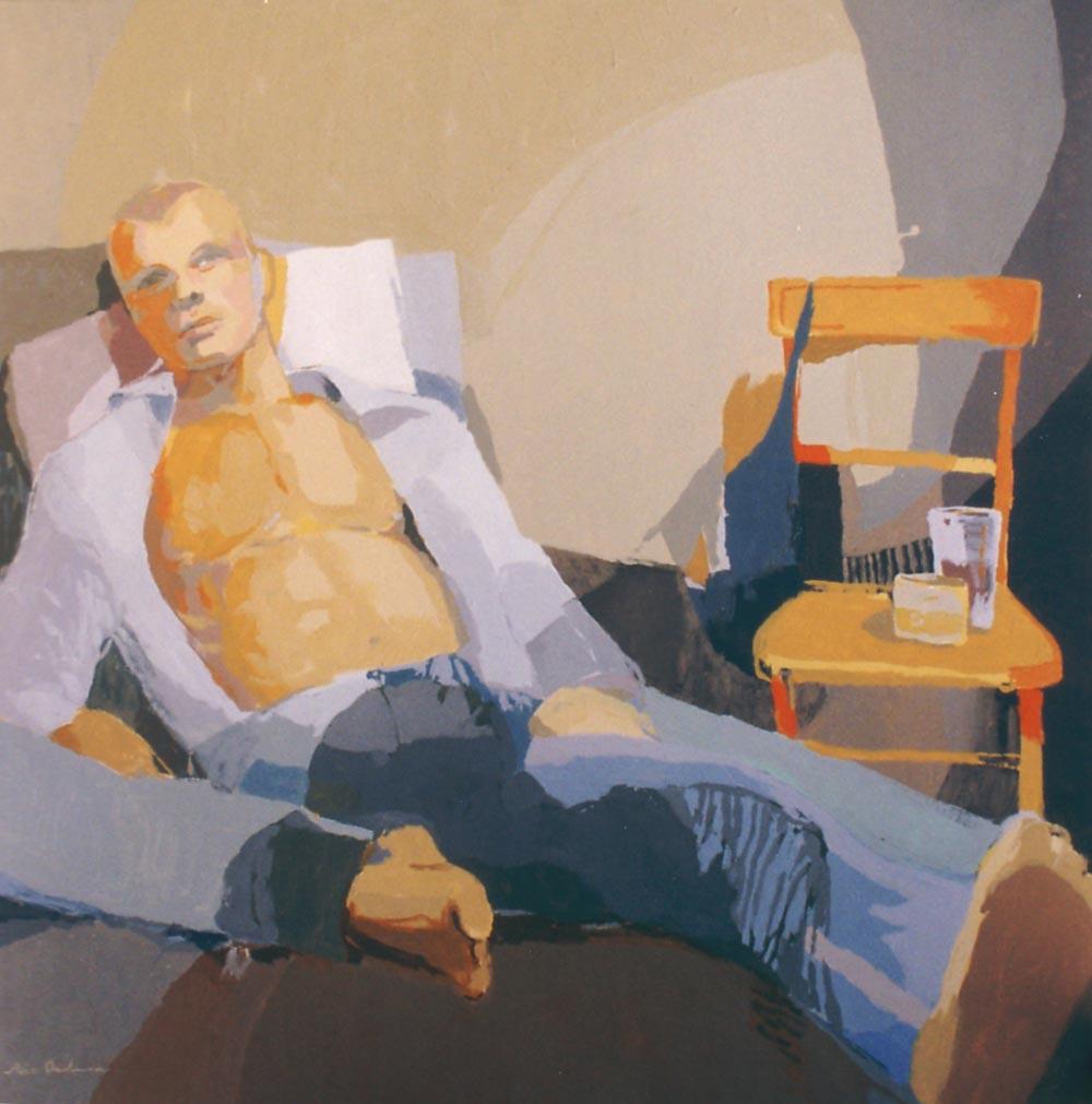 EL AMANTE, acrílico/lienzo, 100x100 cm, 2003