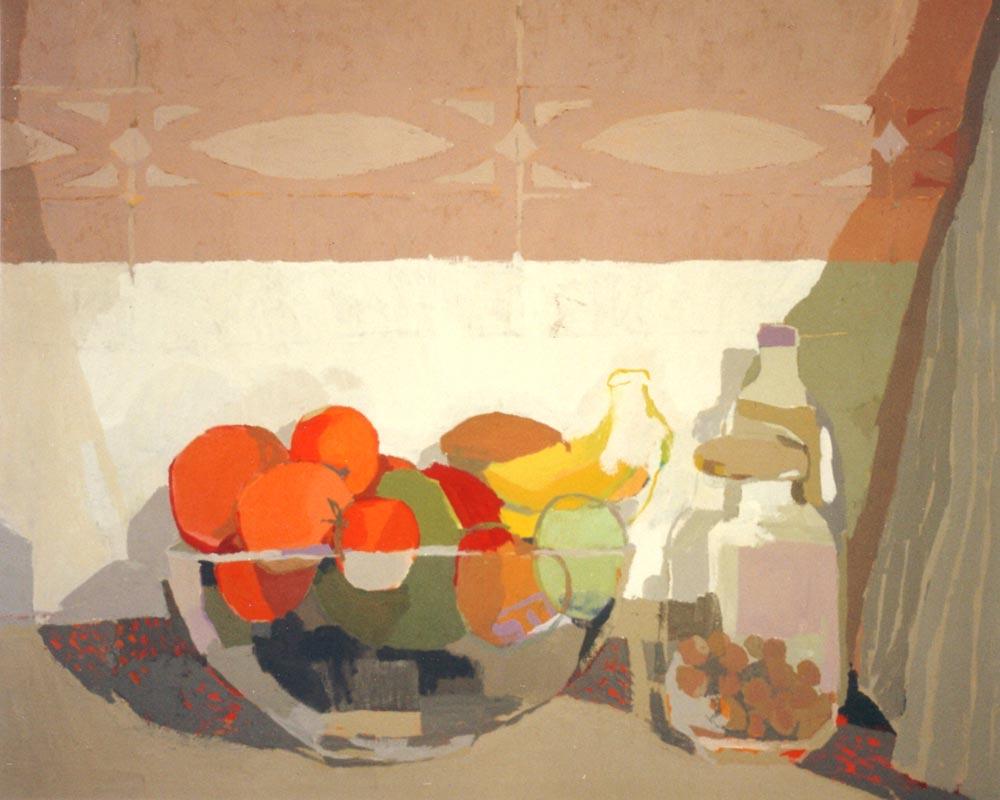 EL FRUTERO DE PILI, acrílico/lienzo, 65x81 cm, 2002