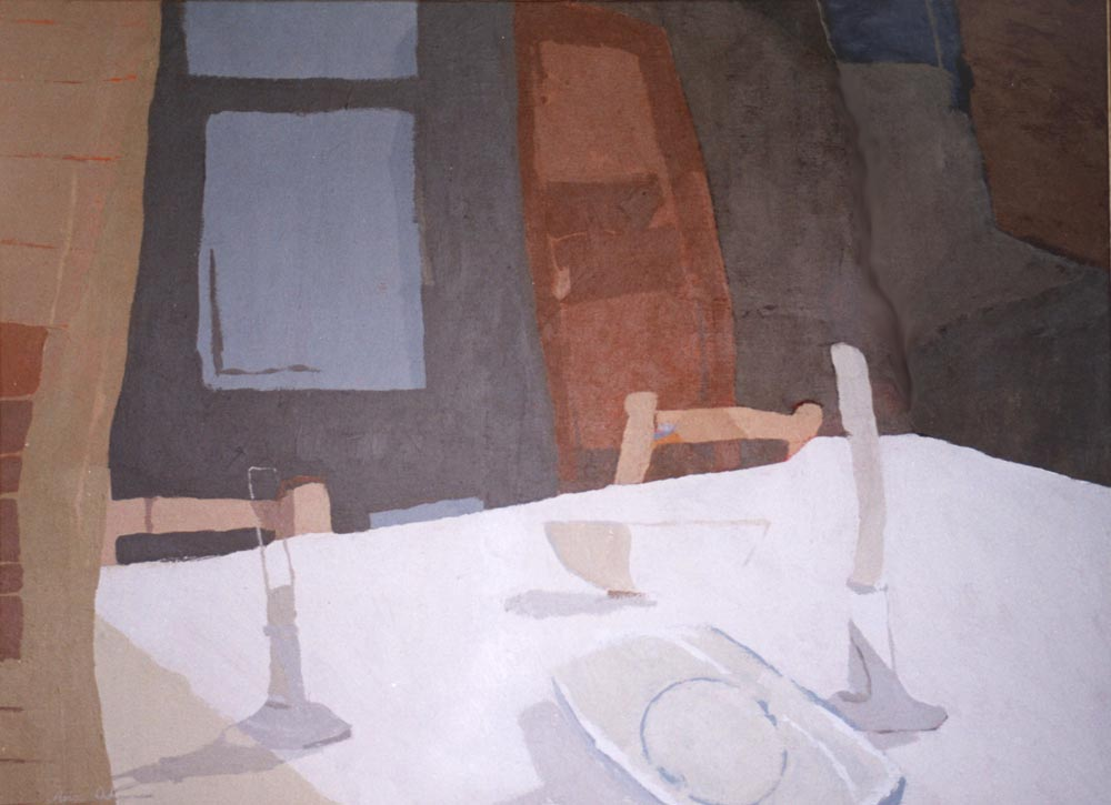 EL MANTEL BLANCO, acrílico/lienzo, 51x73 cm, 2001