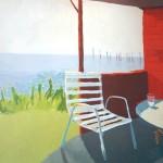 EL PORCHE ROJO I, acrílico/lienzo, 81x100 cm, 2002