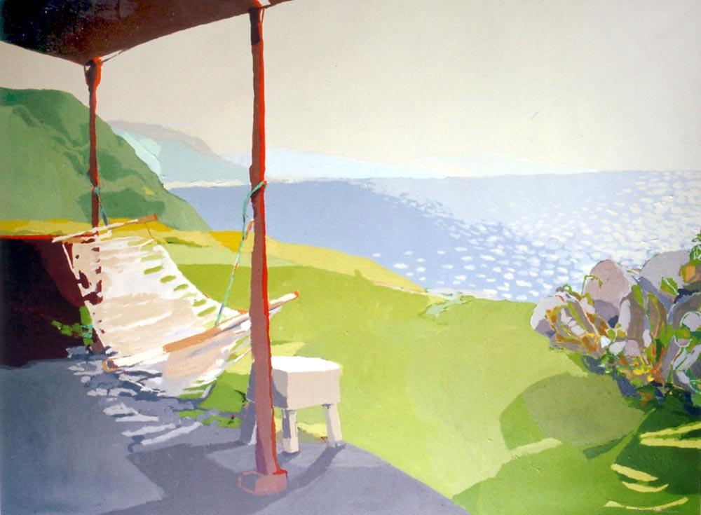 EL PORCHE ROJO II, acrílico/lienzo, 97x130 cm, 2002