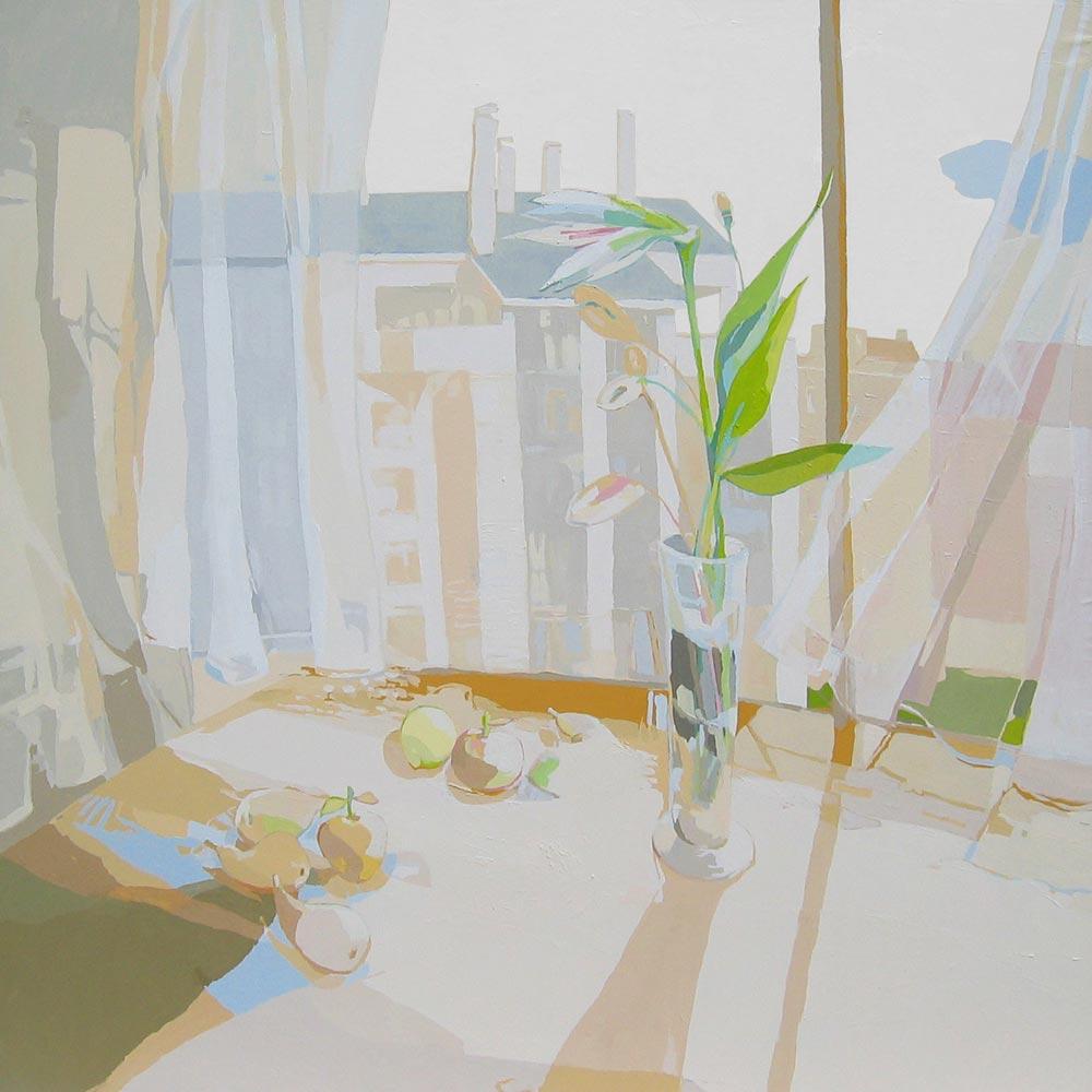 ENTRE VISILLOS, acrílico/lienzo, 195x195 cm, 2009