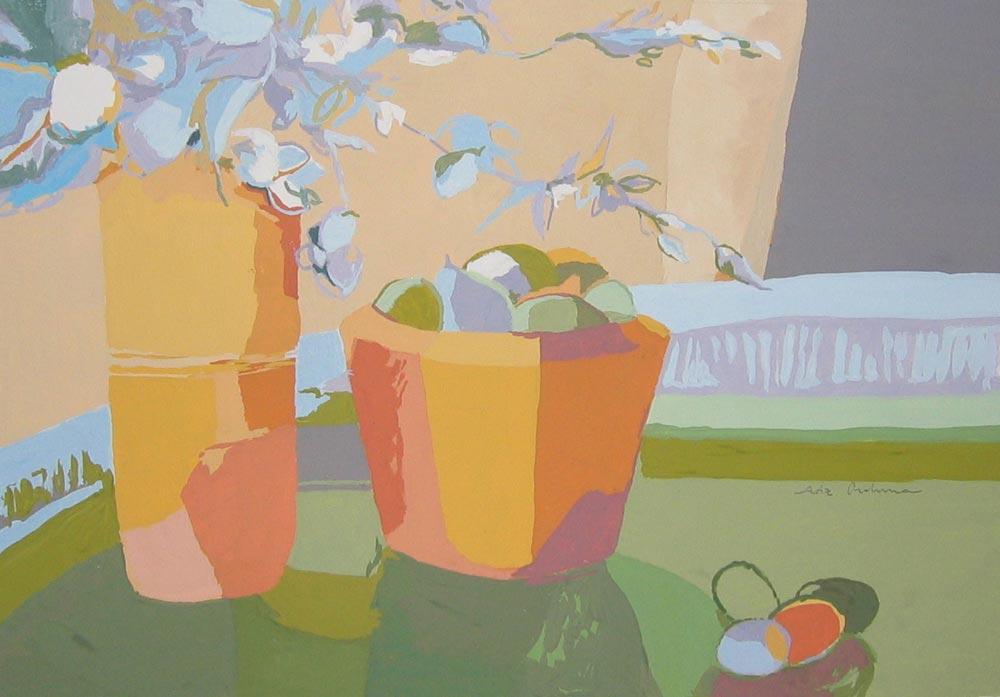 FLORES AZULES, gouache/papel, 20x29 cm, 2007