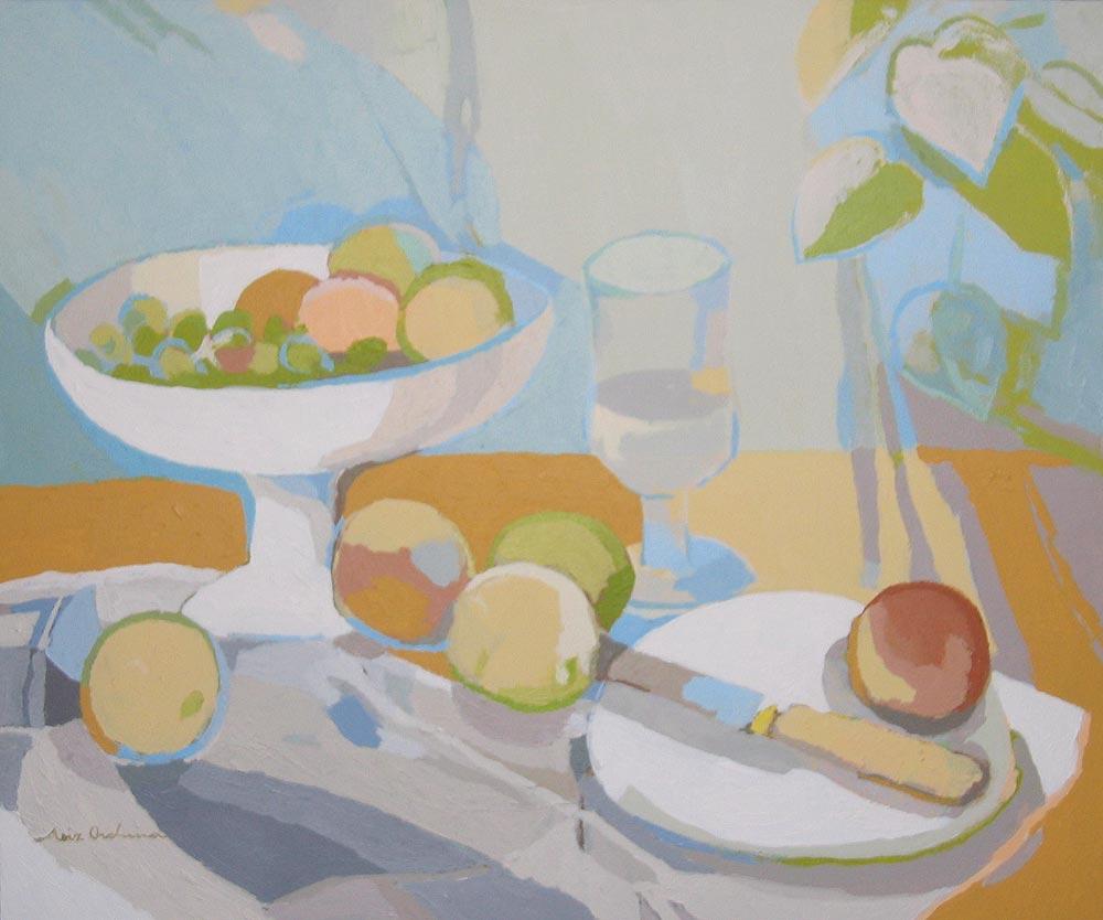FRUTERO, COPA Y MANZANAS, acrílico/lienzo, 46x55 cm, 2006