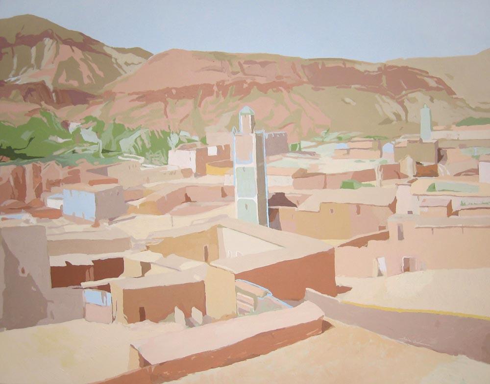 MINARETES (valle del Ziz), acrílico/lienzo, 114x146 cm, 2005