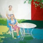 MIS TIAS LAS GEMELAS, acrílico/lienzo, 195x195 cm, 2011