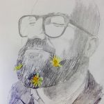 RAMÓN CON MARGARITAS, lápiz/papel, 20x12 cm, 2016