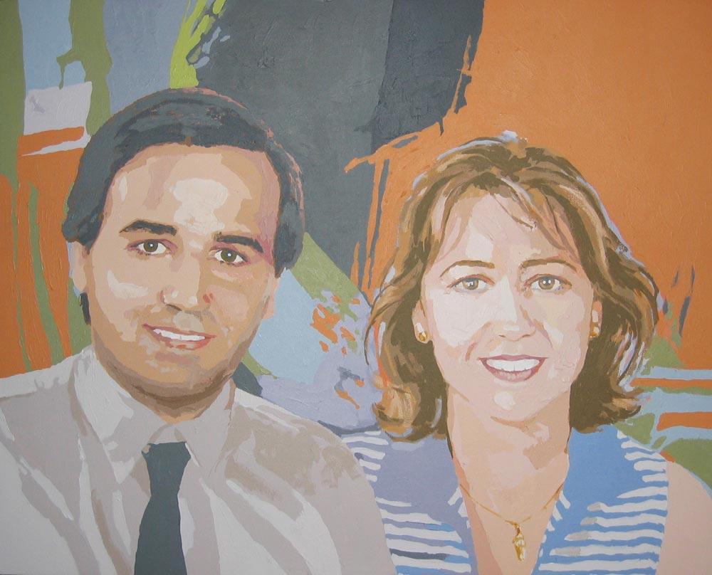 RETRATO DE JAVIER Y ESTHER VELASCO, acrílico/lienzo, 73x91 cm, 2006