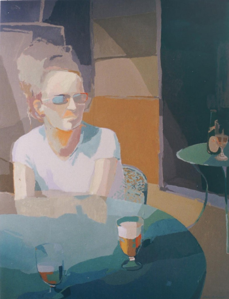 TRES CERVEZAS (La chica danesa), acrílico/lienzo, 116x89 cm, 2003