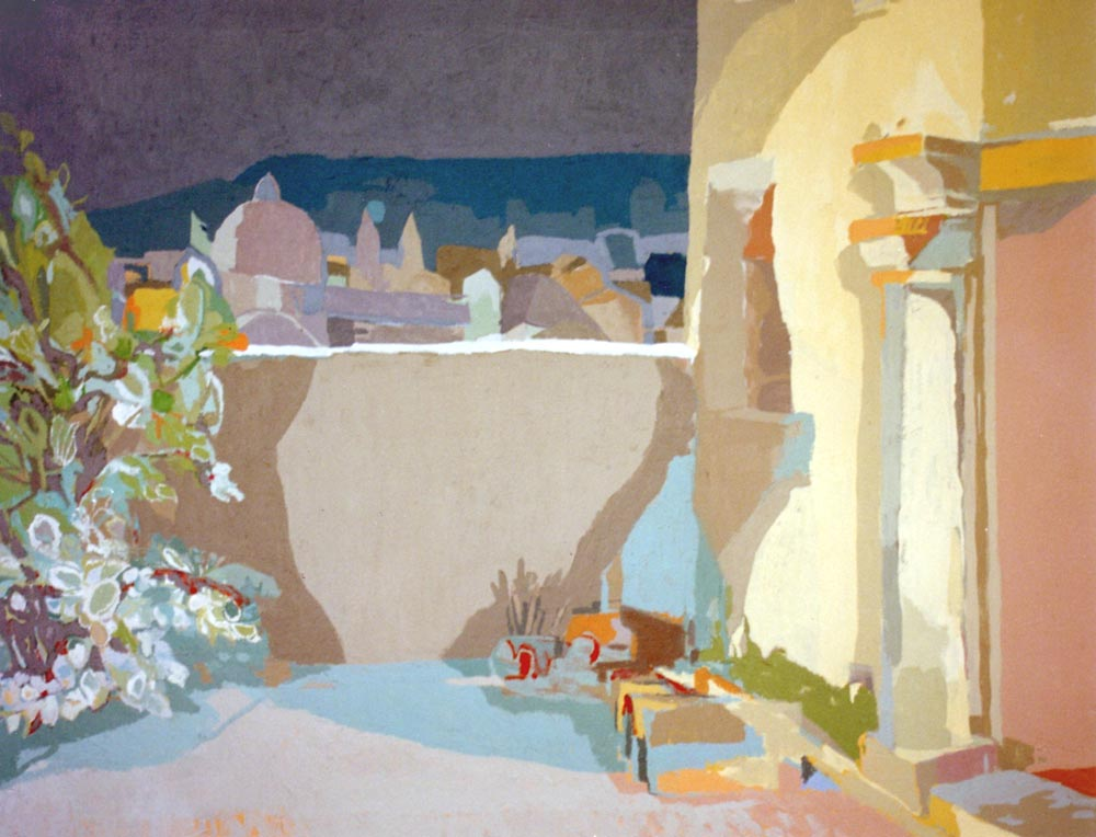 UN PATIO (recuerdo de Granada), acrílico/lienzo, 89x116 cm, 2001
