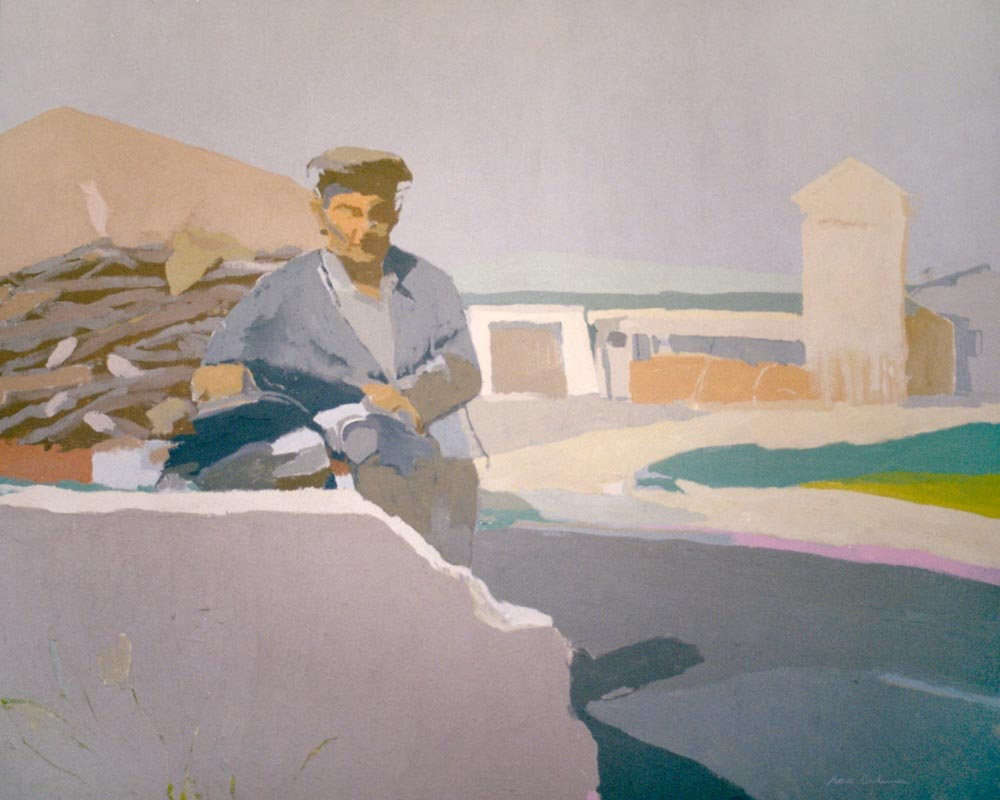 VOLVIENDO DEL TAJO, acrílico/lienzo, 81x100 cm, 2002