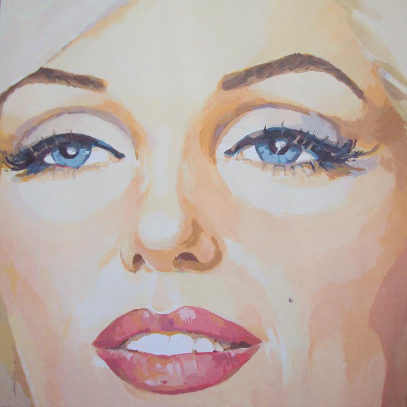 MARILYN-EYES, acrílico/lienzo, 100x100 cm
