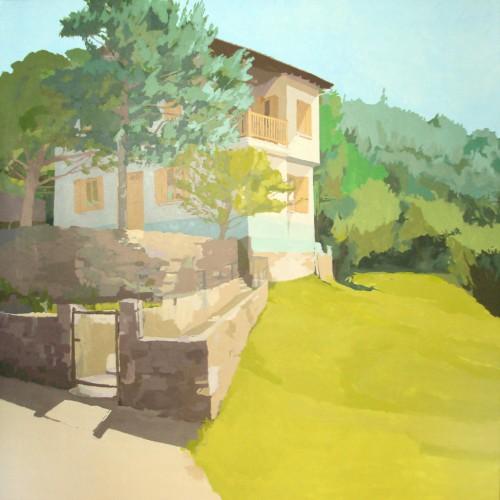 """Un verano en Roncal"", acrílico/lienzo, 195x195 cm."