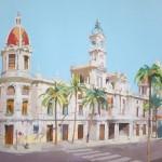 02. Siete palmeras (Ayuntamiento de Valencia) · Acrílico/lienzo · 81x100 cm