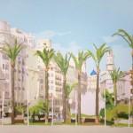 03. Ocho palmeras (Plaza de la Reina) · Acrílico/lienzo · 81x100 cm
