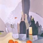 [04] BOTELLAS Y NARANJAS, acrílico/lienzo, 65X54 cm