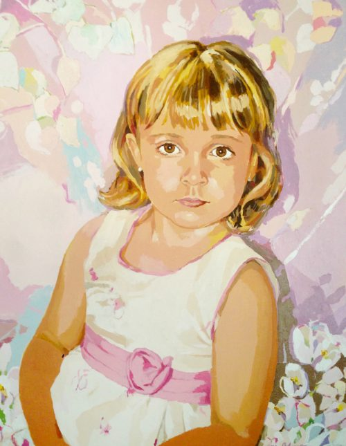 DANIELA PINK TRAIT, acrílico/tela, 91x73 cm