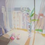 TRES MANZANAS, acrílico/lienzo, 100x100 cm