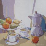 [11] BODEGÓN DEL CAFÉ, acrílico/lienzo, 46x55 cm, 2015