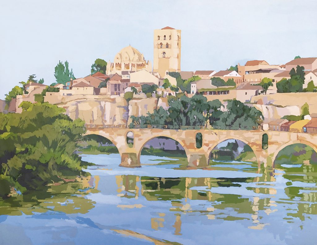 ASOMADA AL DUERO II, acrílico/lienzo, 81x100 cm