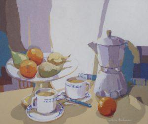 BODEGÓN DEL CAFÉ, acrílico/lienzo, 46x55 cm