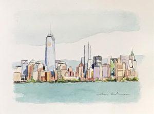 NEW YORK NEW YORK BLUE, acuarela/papel, 13x18 cm
