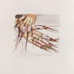 MANICURA DE NAVIDAD, acuarela/papel, 13x13 cm - R I F A